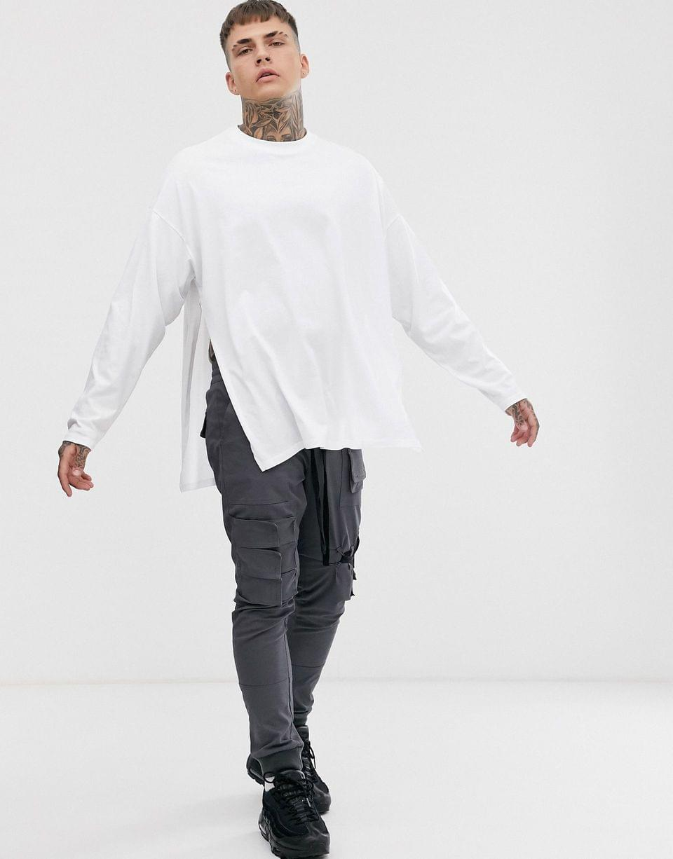 Men's oversized long sleeve t-shirt with extreme side splits in white
