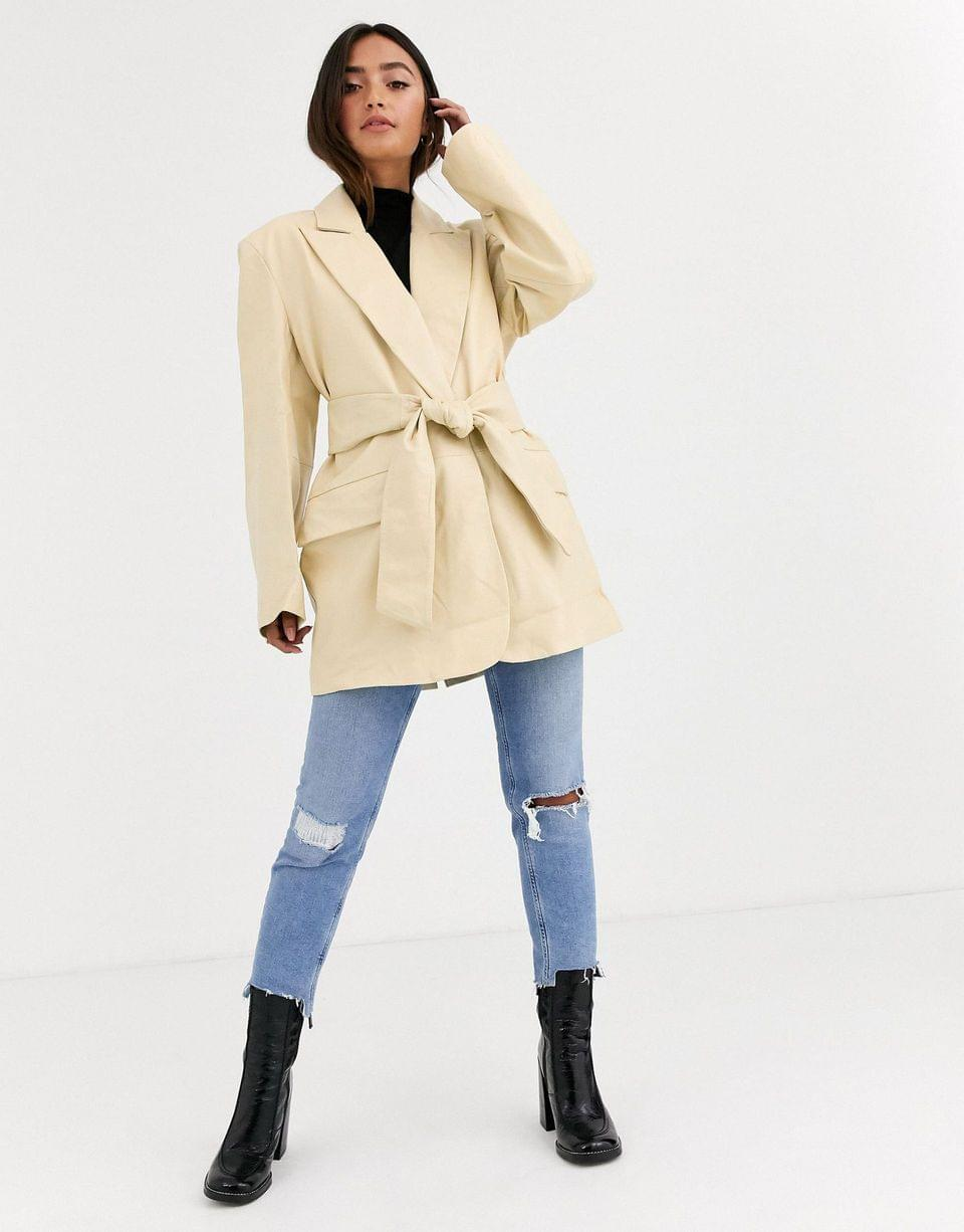 Women's leather grandad jacket in lemon