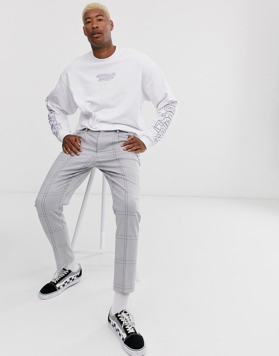Men's Tall oversized sweatshirt with multiplacement logo print in white