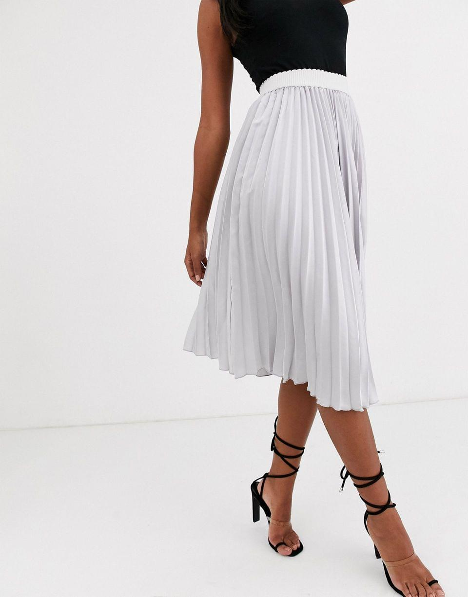 Women's Outrageous Fortune pleated midi skirt with contrast waistband in silver