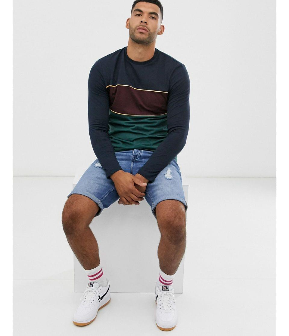 Men's Tall long sleeve t-shirt with color block in navy