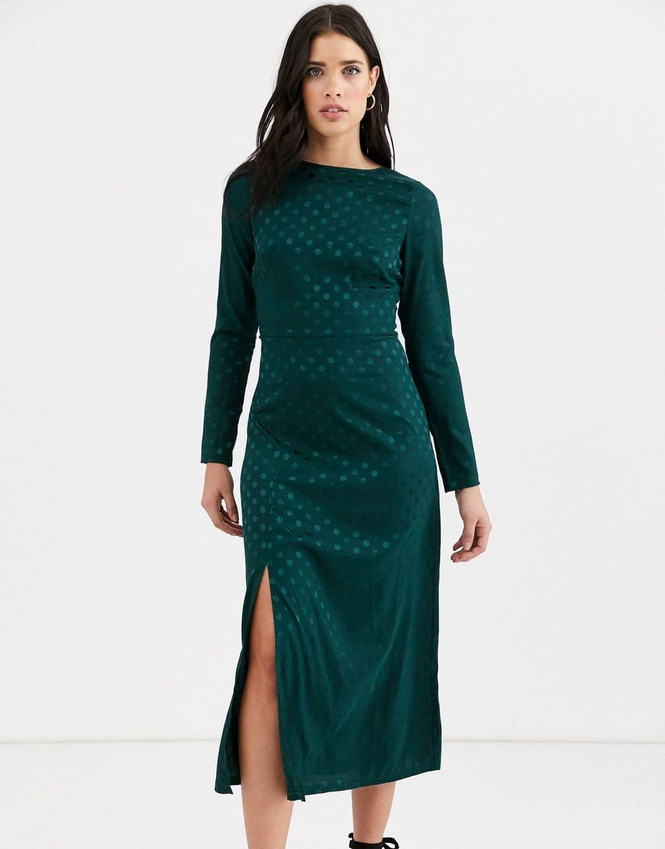 Women's Fashion Union long sleeve midi dress with dip back and tie detail