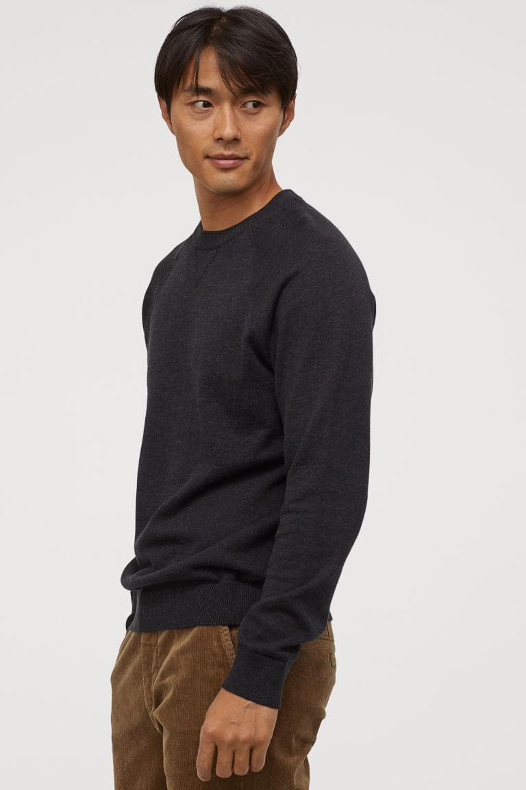 Men's Cotton Raglan-sleeved Sweater