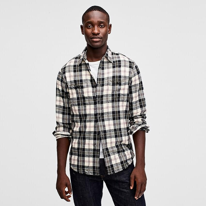 Men's Midweight flannel shirt in ivory plaid