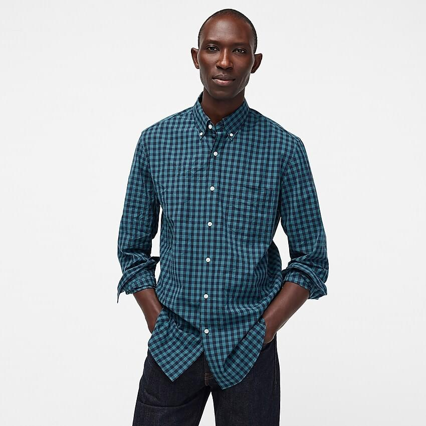 Men's Stretch Secret Wash shirt in past plaid organic cotton