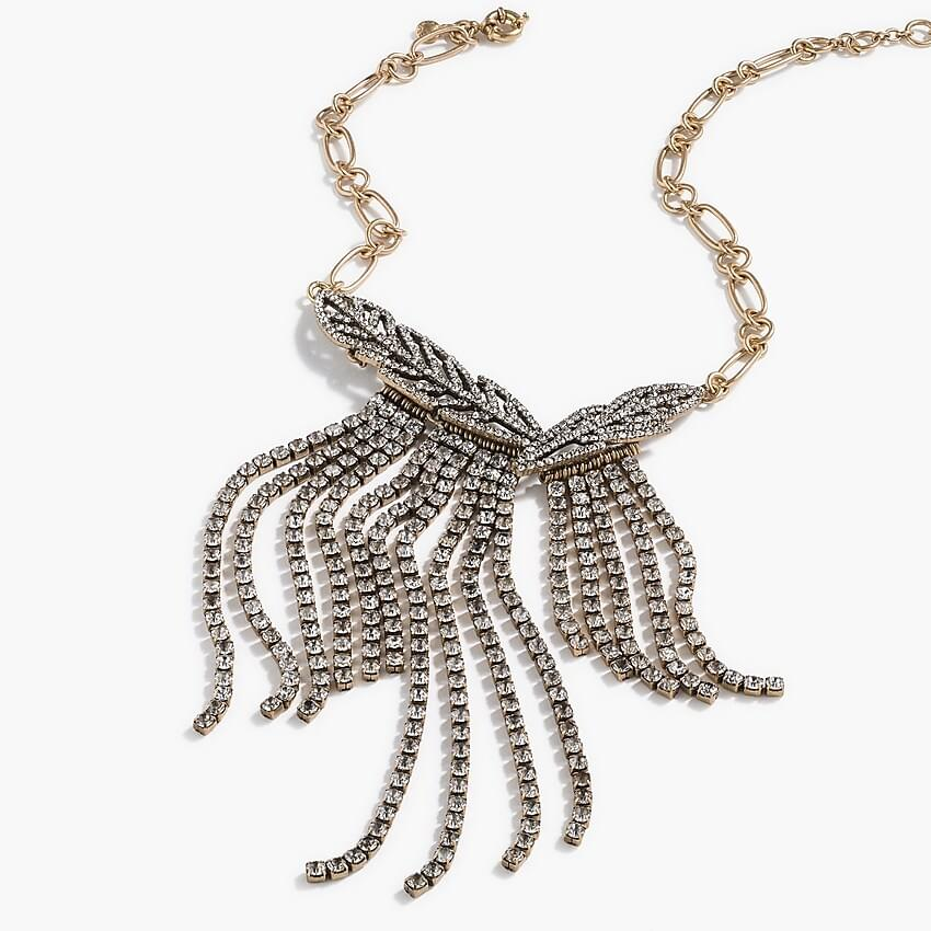 Women's Pav feather statement necklace
