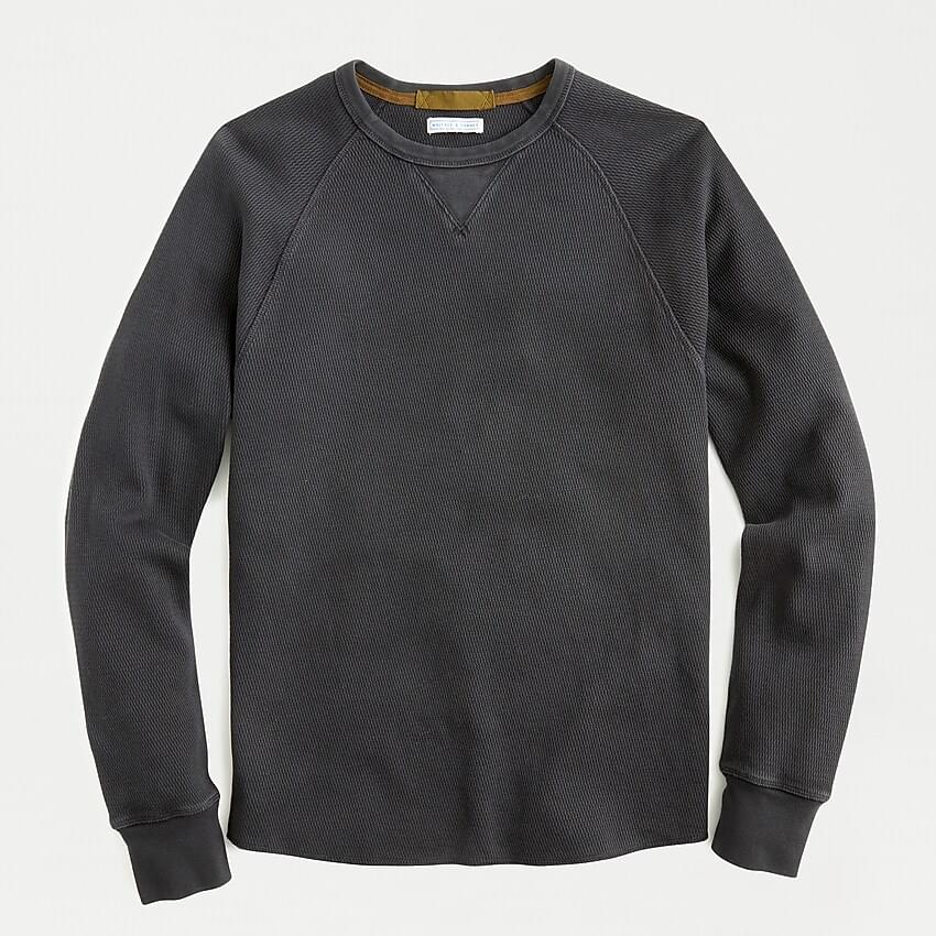 Men's Garment-dyed honeycomb-stitch crewneck long-sleeve T-shirt