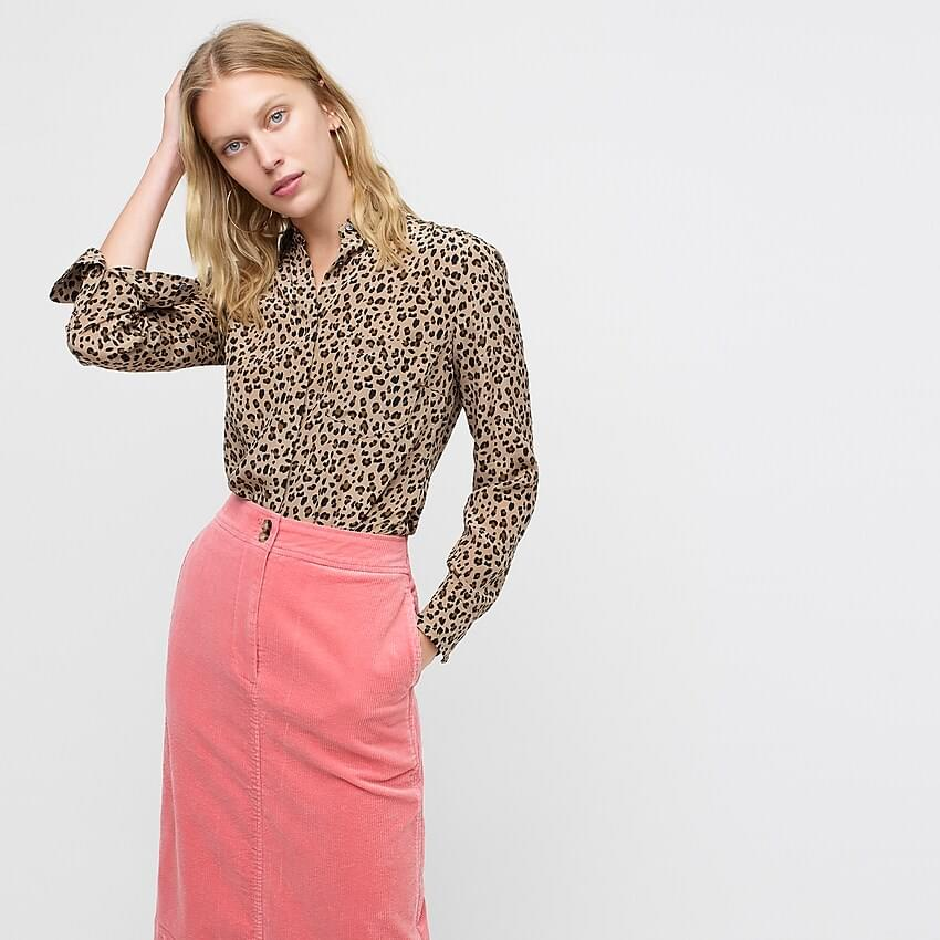 Women's Silk button-up shirt in leopard