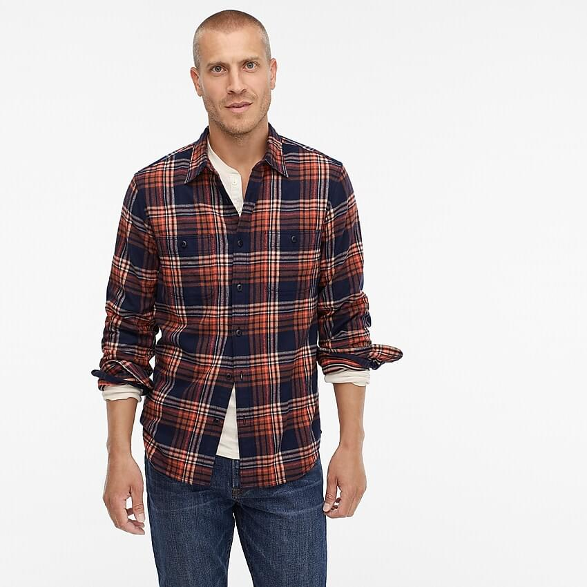 Men's Midweight flannel shirt in orange plaid