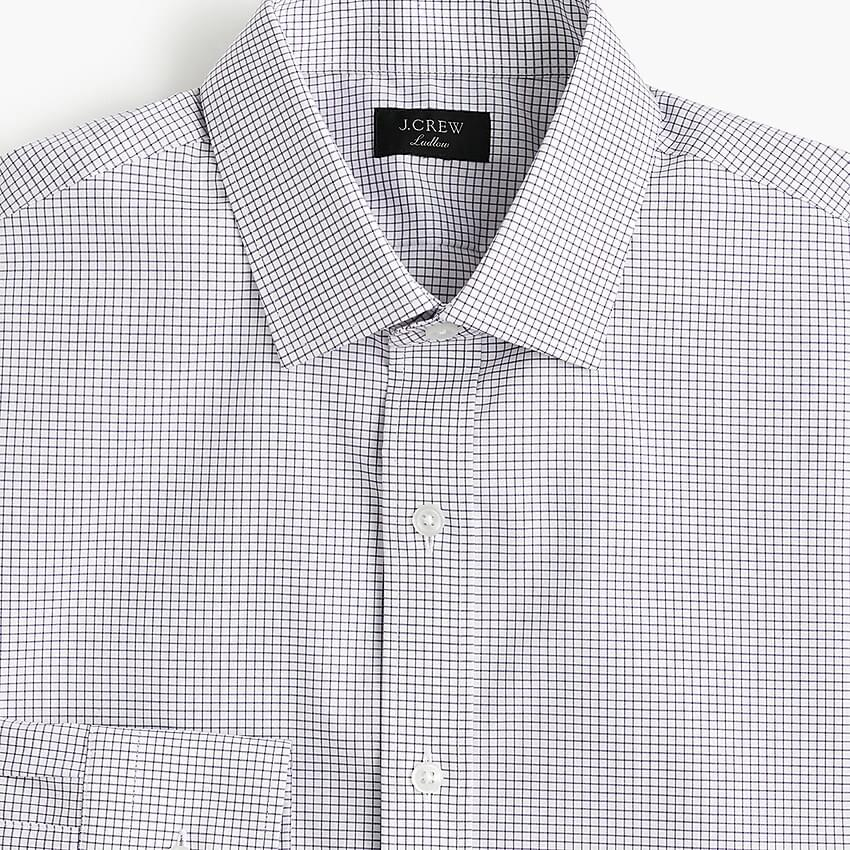 Men's Ludlow stretch two-ply easy-care cotton dress shirt in microcheck