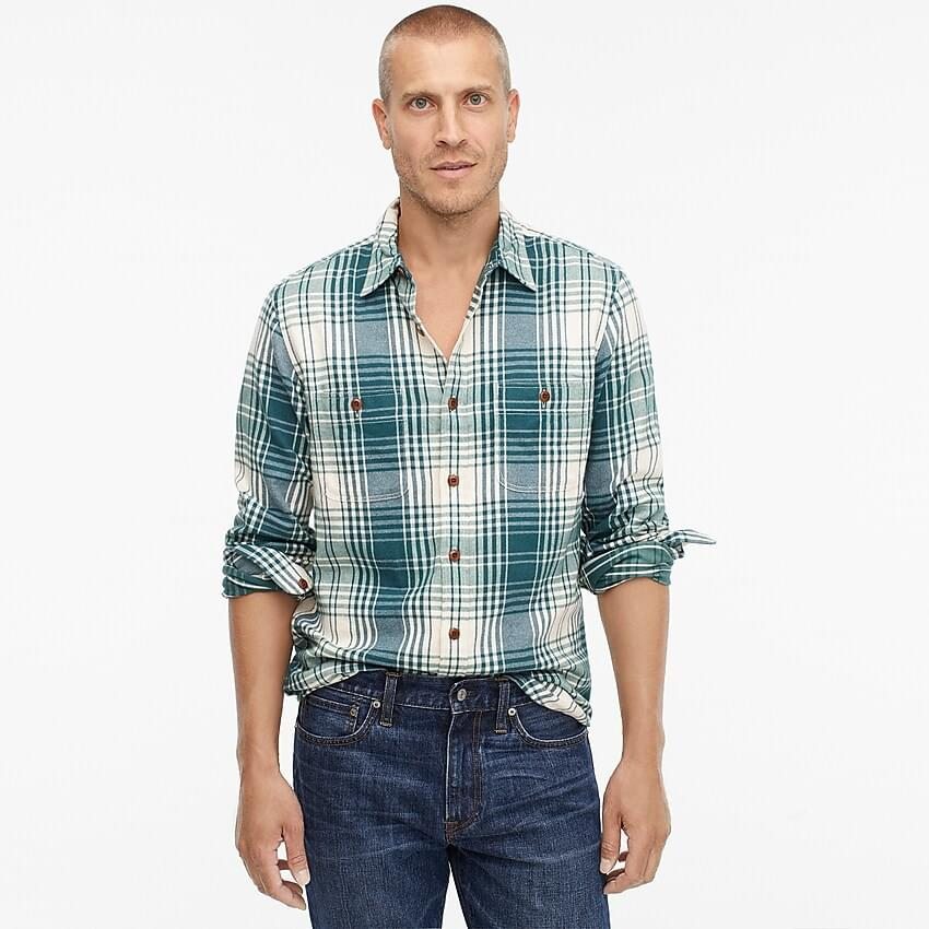 Men's Midweight flannel shirt in green plaid