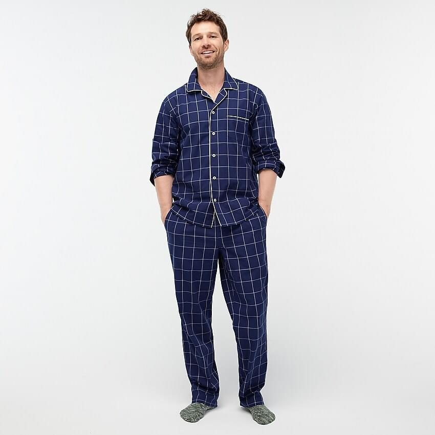 Men's Pajama set in windowpane cotton poplin