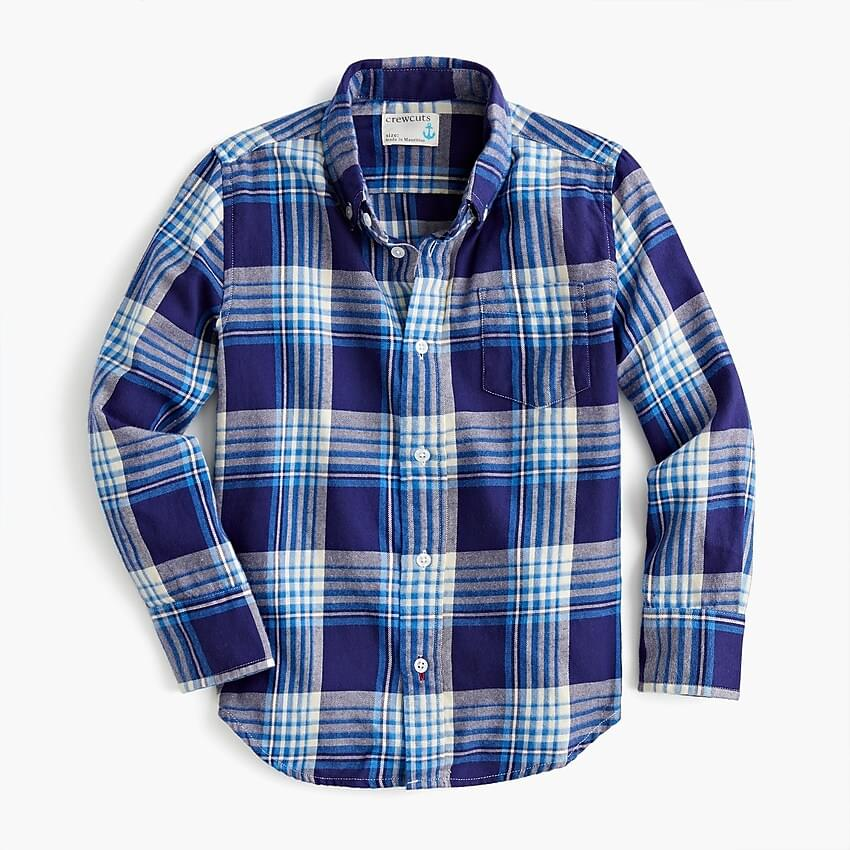 Boy's Kids' flannel shirt in bright blue plaid