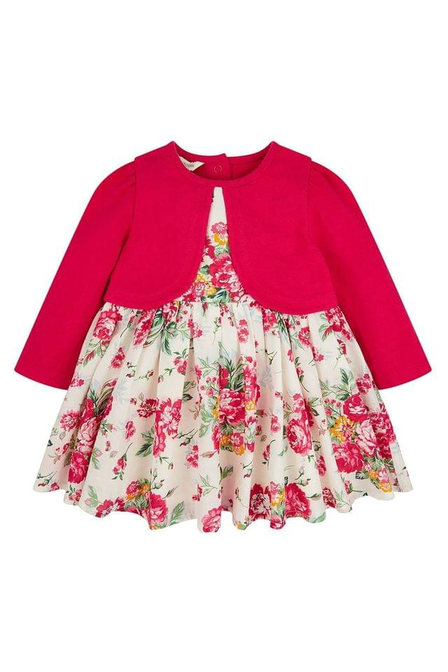 Girl's Monsoon Children Red Baby Petunia Cardigan Dress