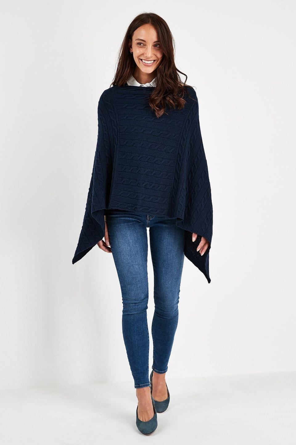 Women's GANT Navy Lambswool Cable Poncho