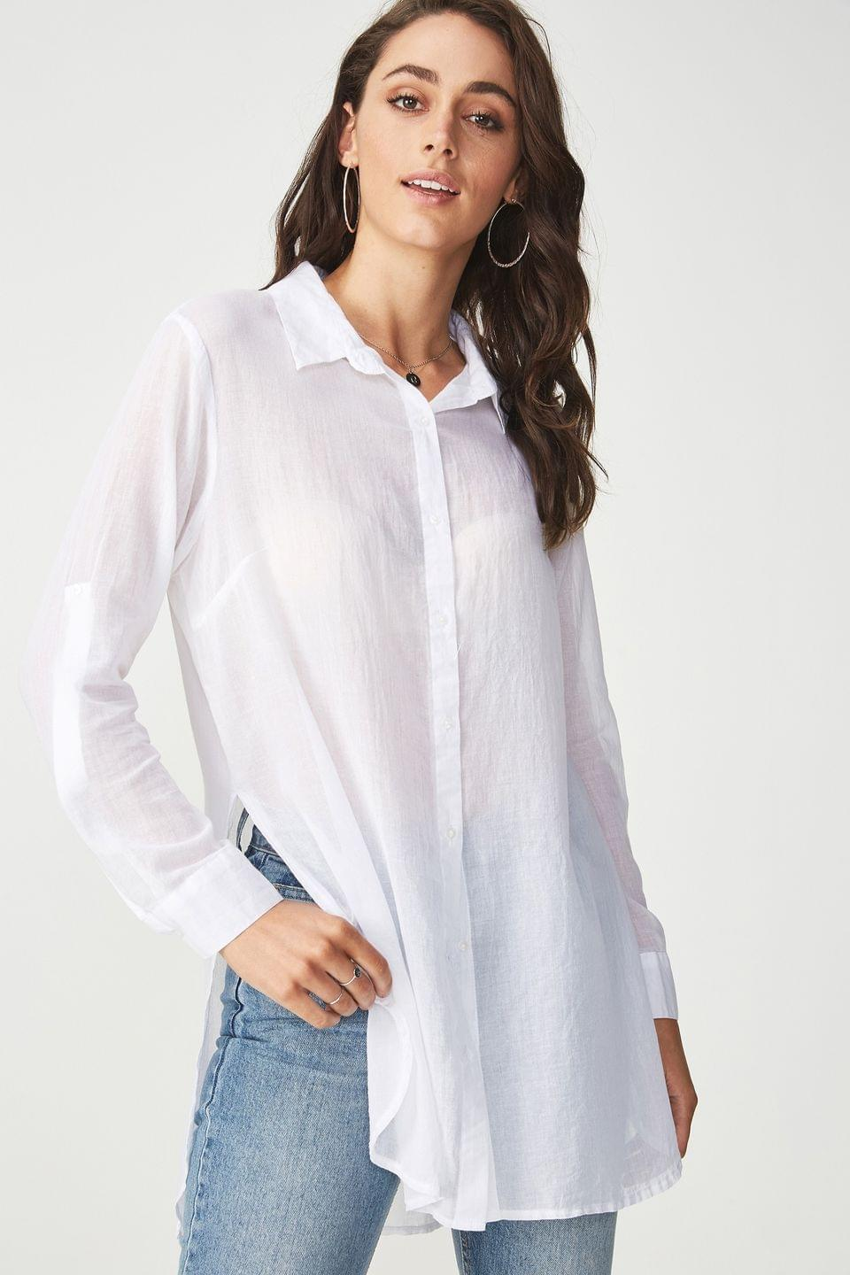 Women's Cotton On Longline Cotton Shirt