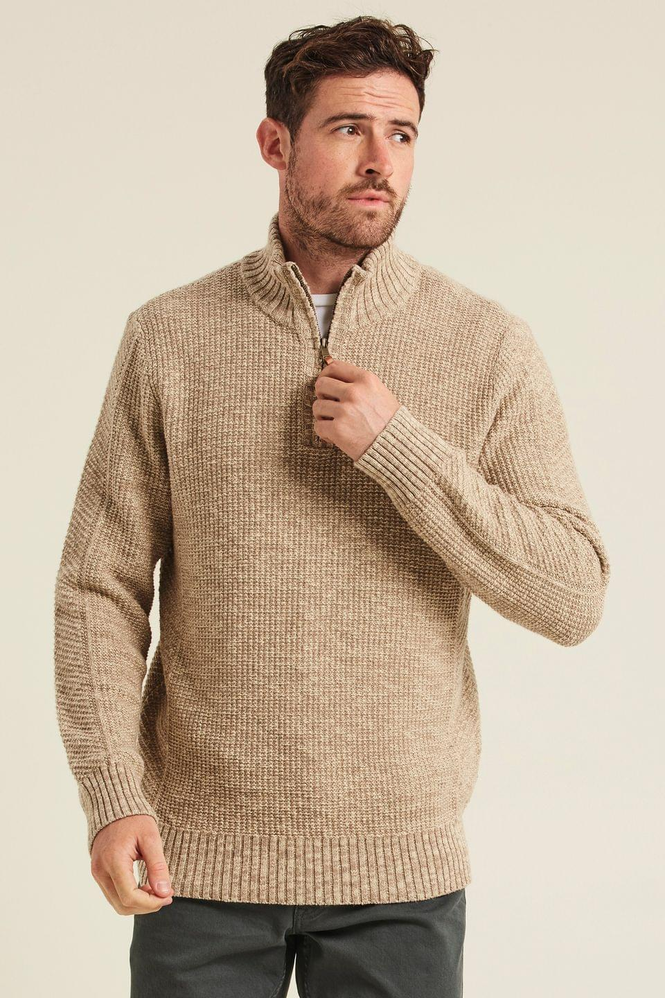 Men's Fatface Natural Chesham Half Neck Jumper
