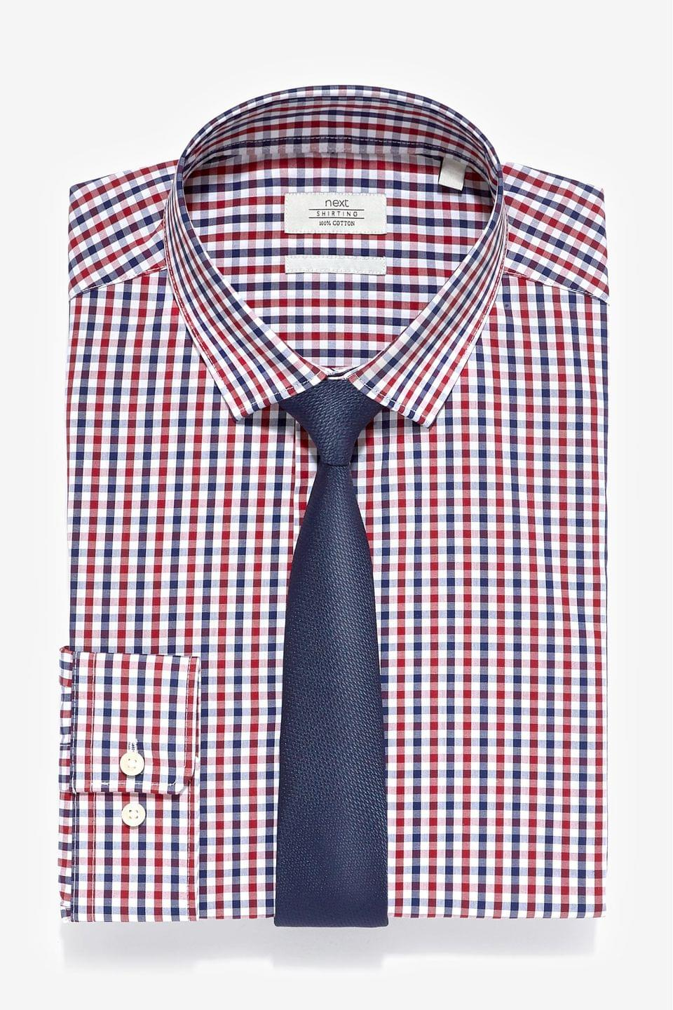 Men's Red/Navy Cotton Regular Fit Single Cuff Check Shirt And Tie Set
