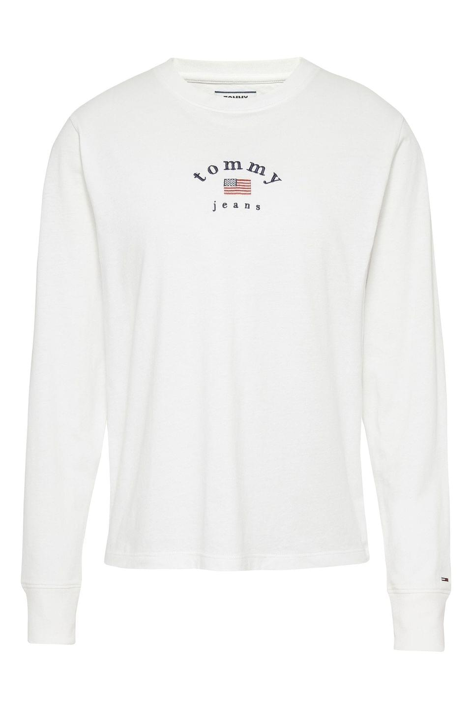 Women's Tommy Jeans White Americana Long Sleeve T-Shirt