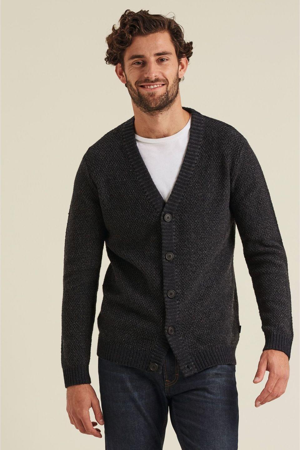 Men's FatFace Grey Shelwick Stitch Cardigan