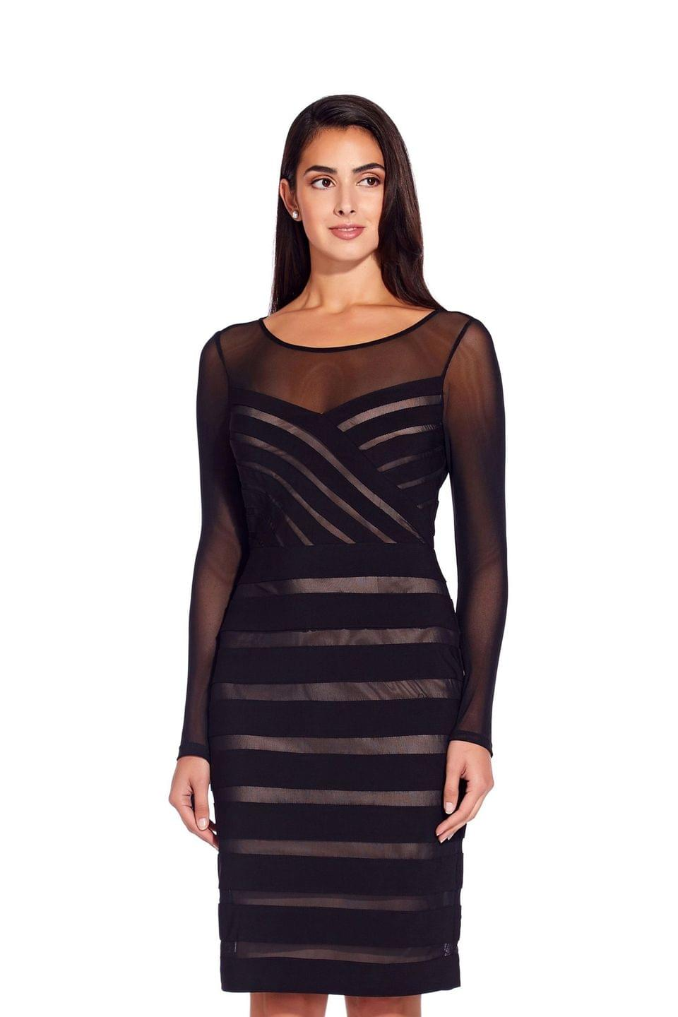 Women's Adrianna Papell Black Illusion Banded Sheath Dress