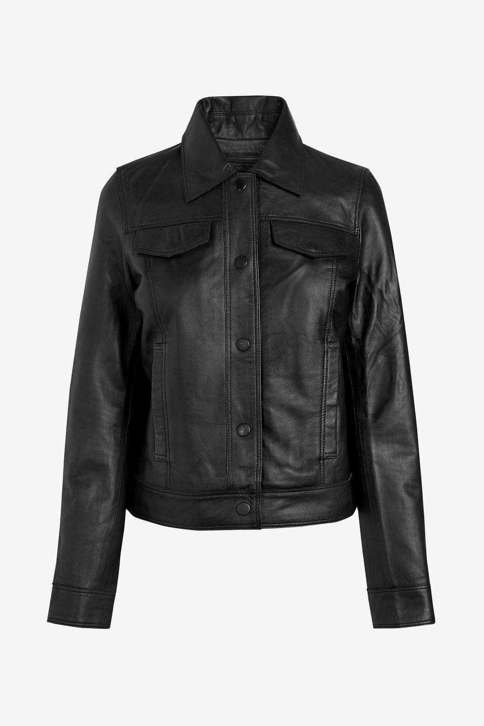 Women's Black Leather Western Jacket