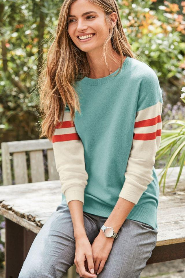 WOMEN Navy/Cream Breton Crew Neck Cashmere Jumper