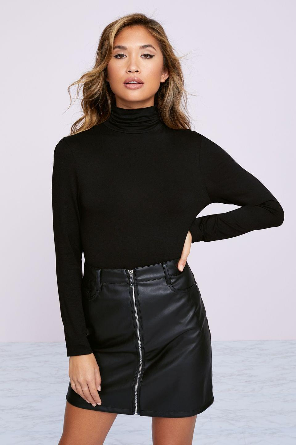 Women's Lipsy Faux Leather Zip Front Mini Skirt