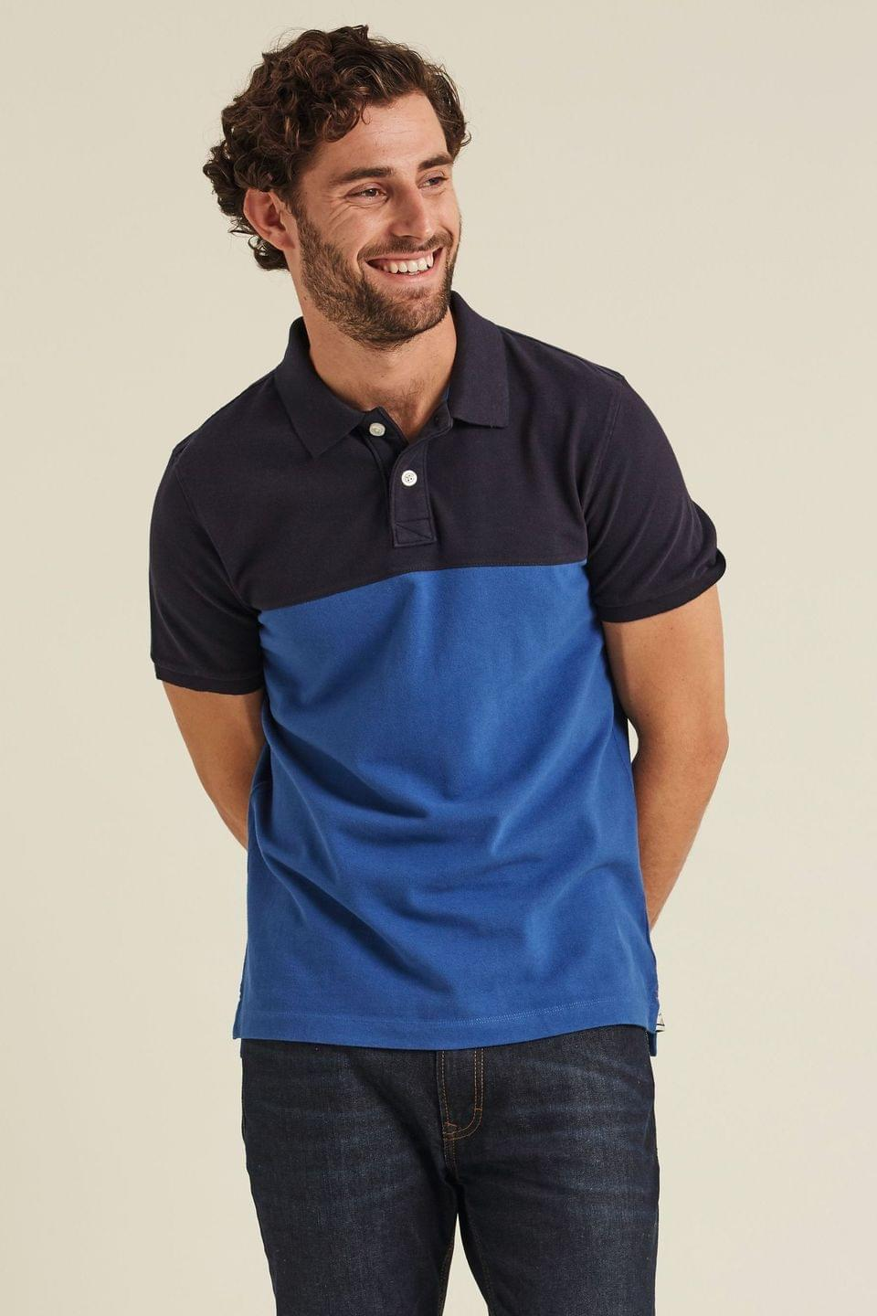 Men's FatFace Blue Fowley Cut Sew Polo