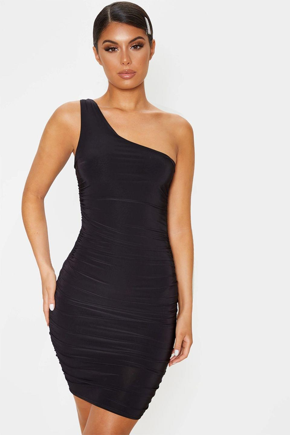 Women's PrettyLittleThing Slinky One Shoulder Ruched Bodycon Dress