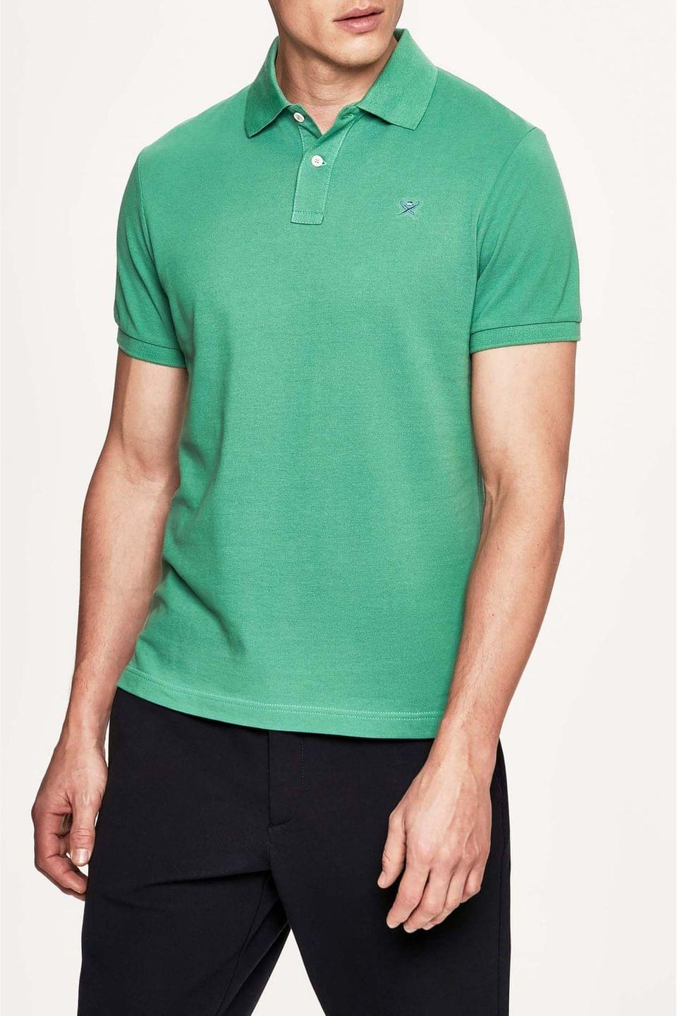 Men's Hackett London Green Slim Fit Short Sleeved Polo