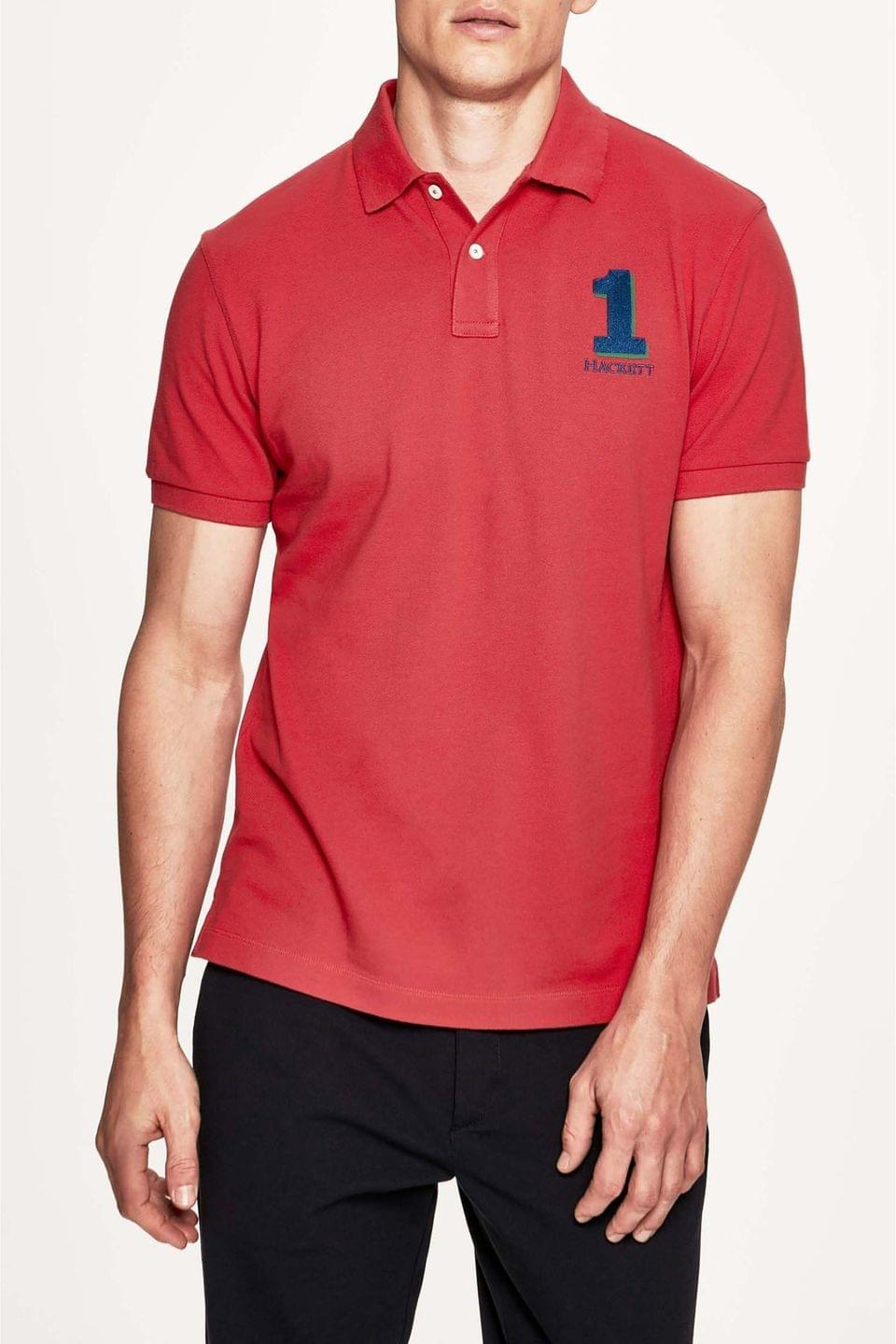 Men's Hackett London Red Classic Fit Short Sleeved Polo