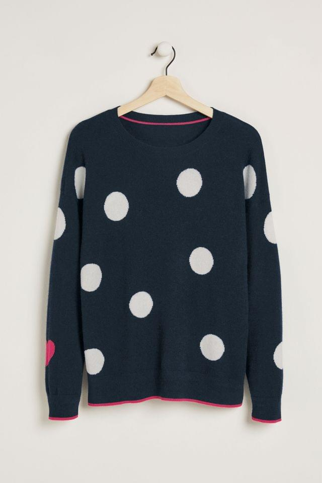 WOMEN Navy Spot Crew Neck Cashmere Jumper