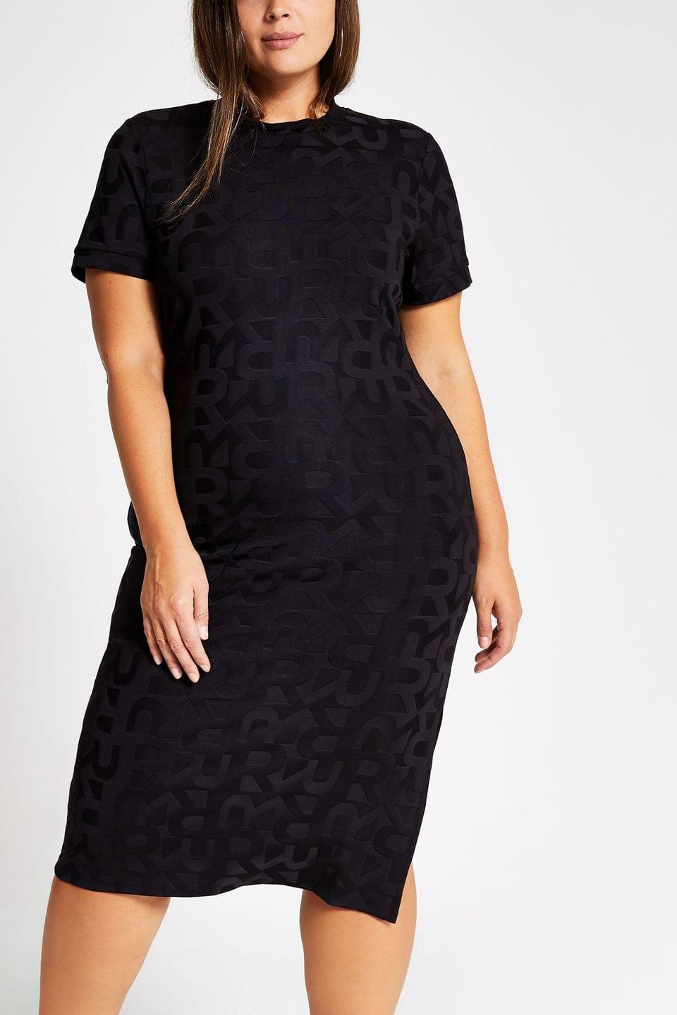 Women's River Island Curve Black Leo Jacquard Dress