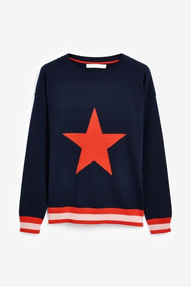 WOMEN Navy Star Crew Neck Cashmere Jumper