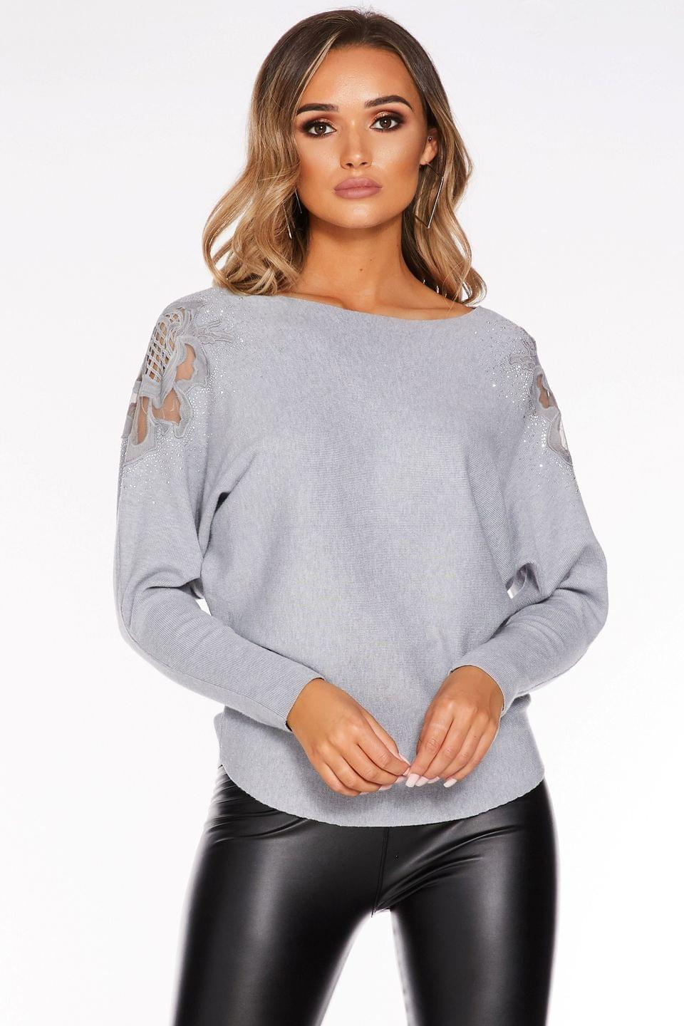 Women's Quiz Light Knit Lace Rose Shoulder Detail Batwing Top