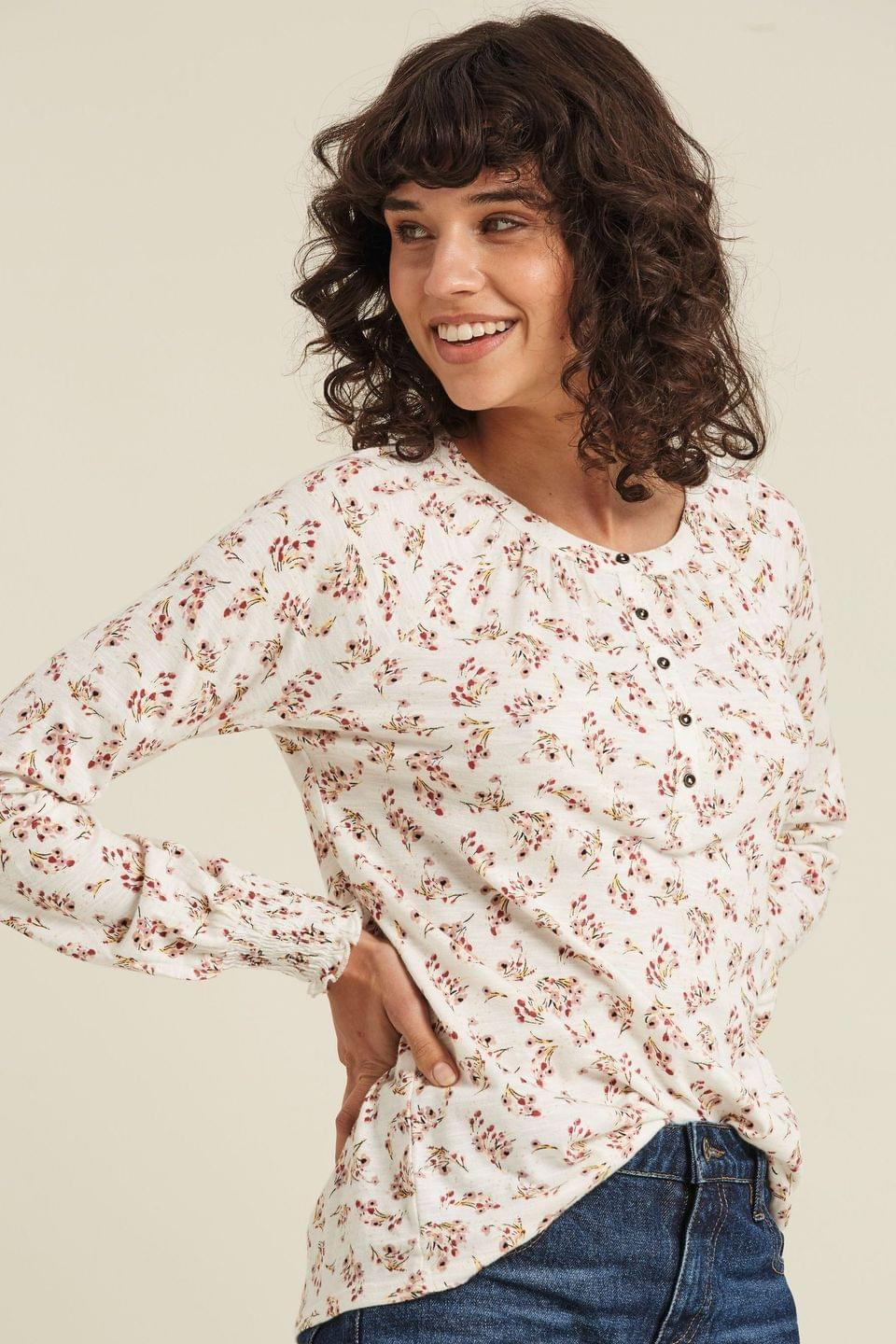Women's FatFace Natural Uma Brushstroke Floral Top