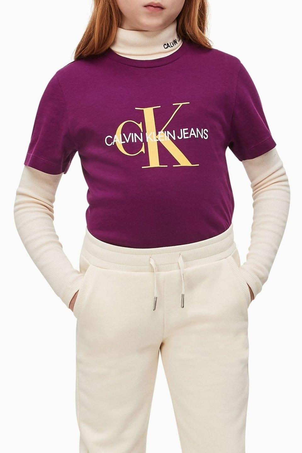 Girl's Calvin Klein Jeans Purple Monogram T-Shirt