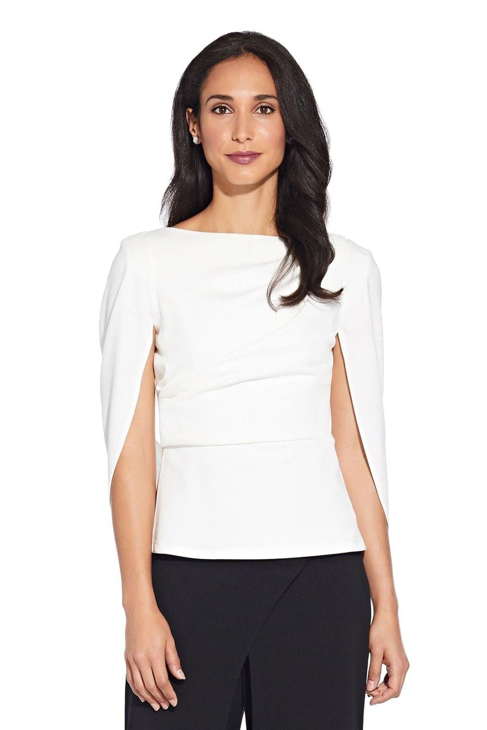 Women's Adrianna Papell White Cowl Crepe Cape Top