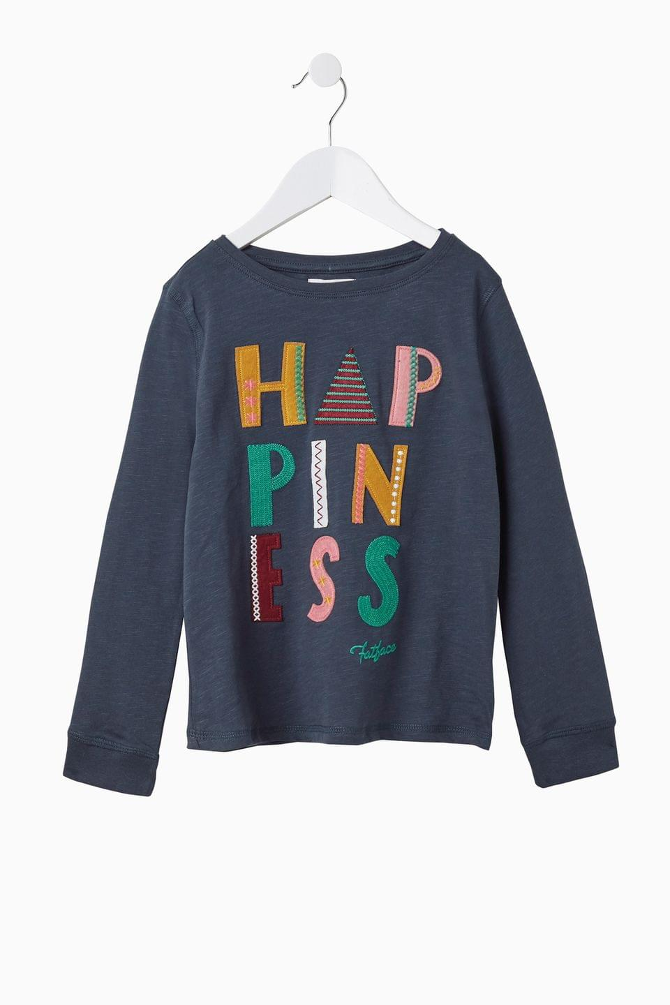 Girl's FatFace Blue Happiness Graphic T-Shirt