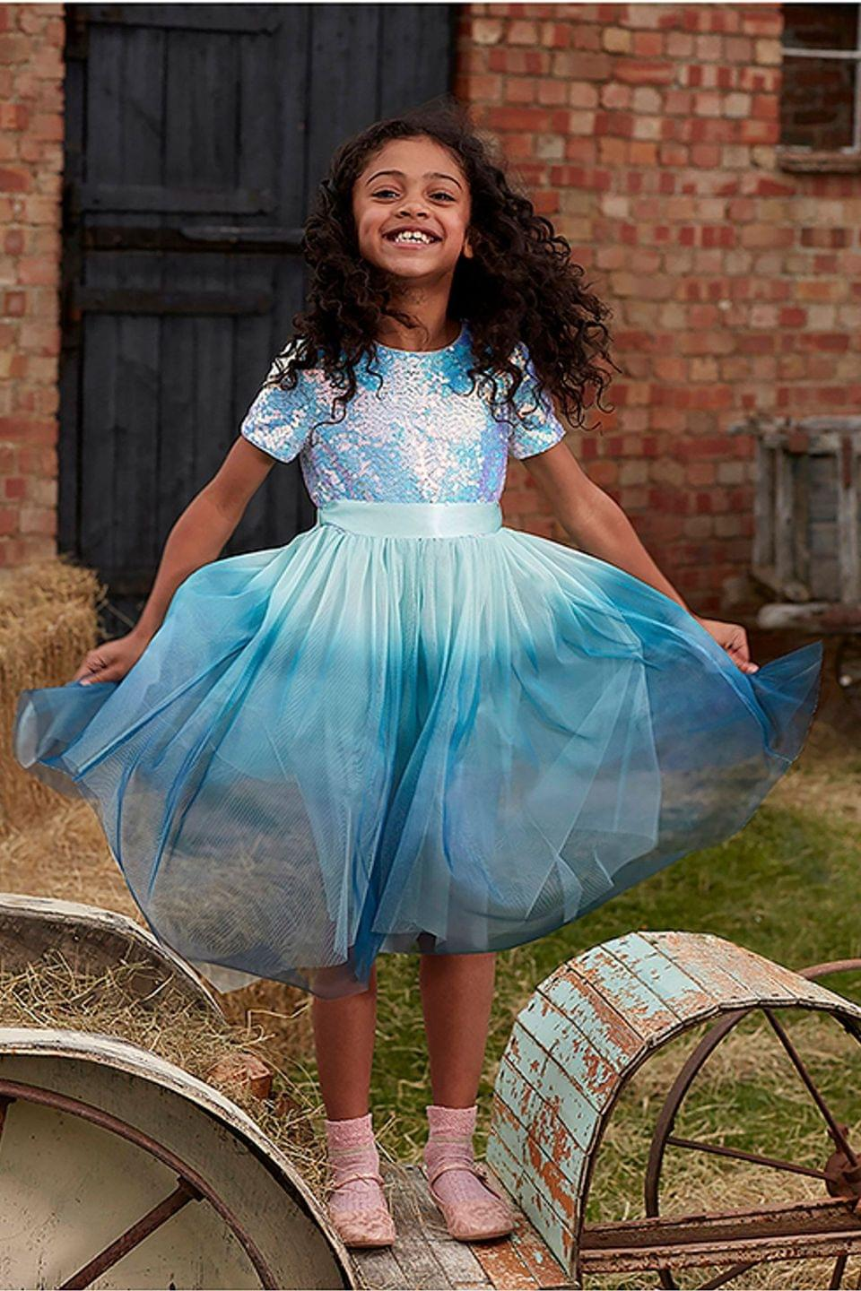 Girl's Monsoon Children Blue Ivana Ombre Sequin Dress