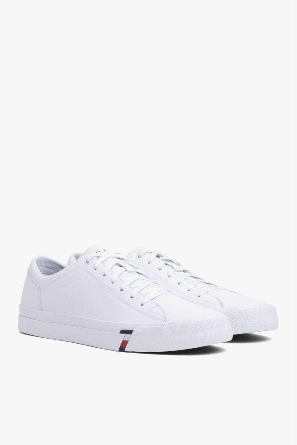 Men's Tommy Hilfiger White Corporate Lea Tommy Hilfiger Trainers