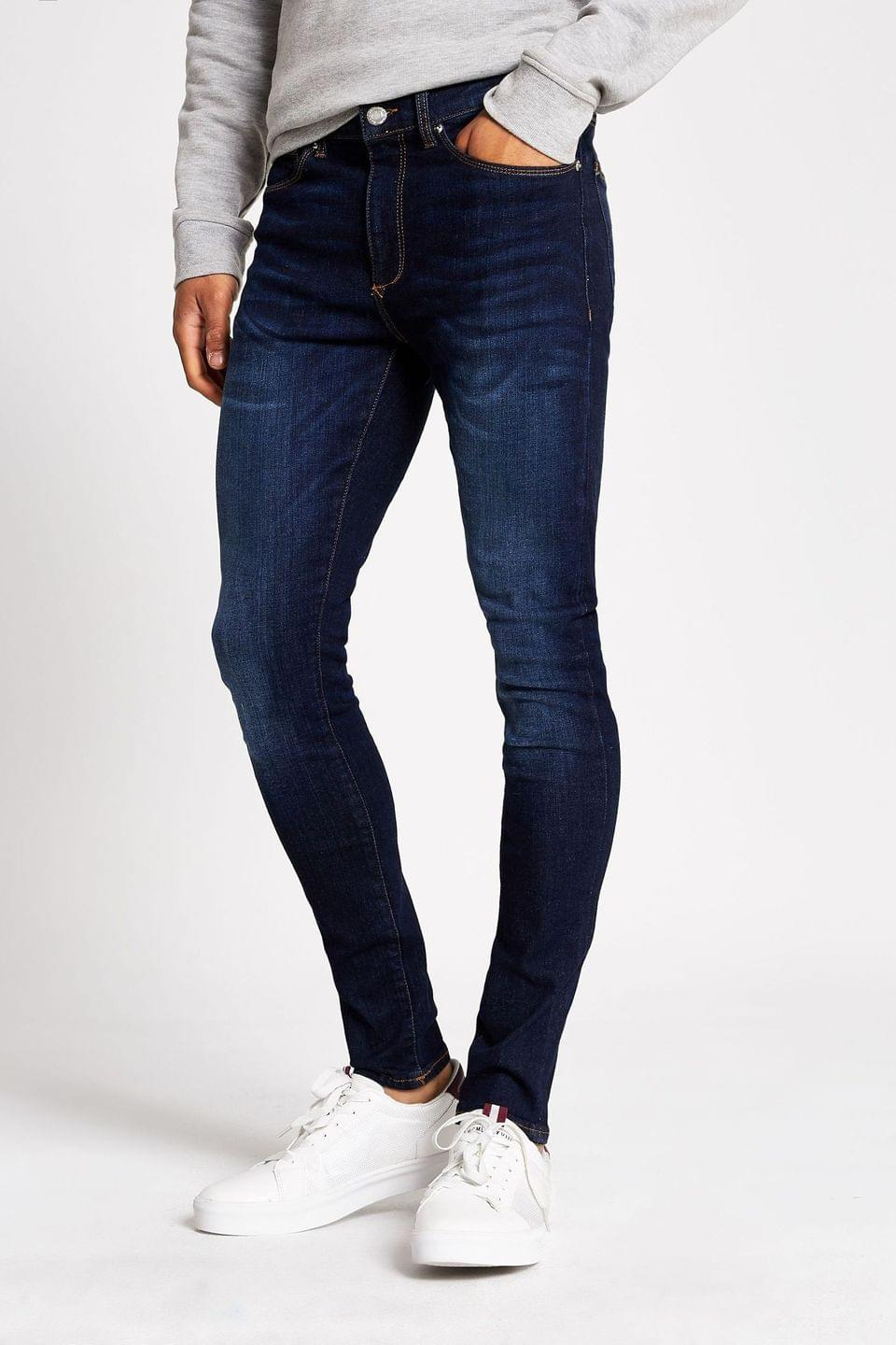 Men's River Island Dark Blue Zepplin Jeans