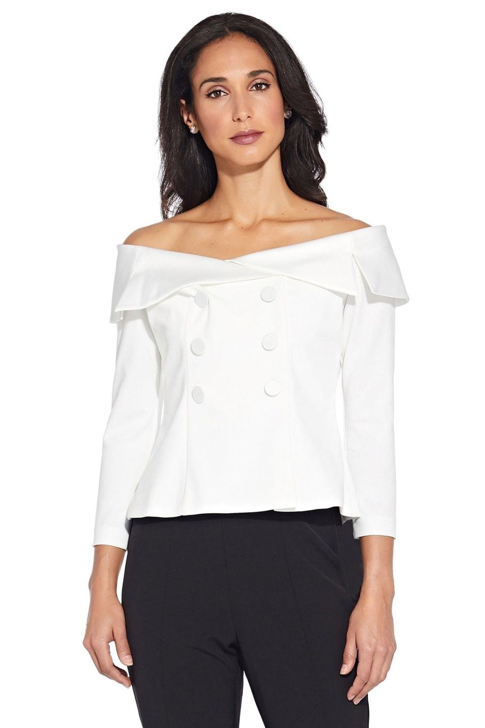 Women's Adrianna Papell White Charmuese Crepe Top
