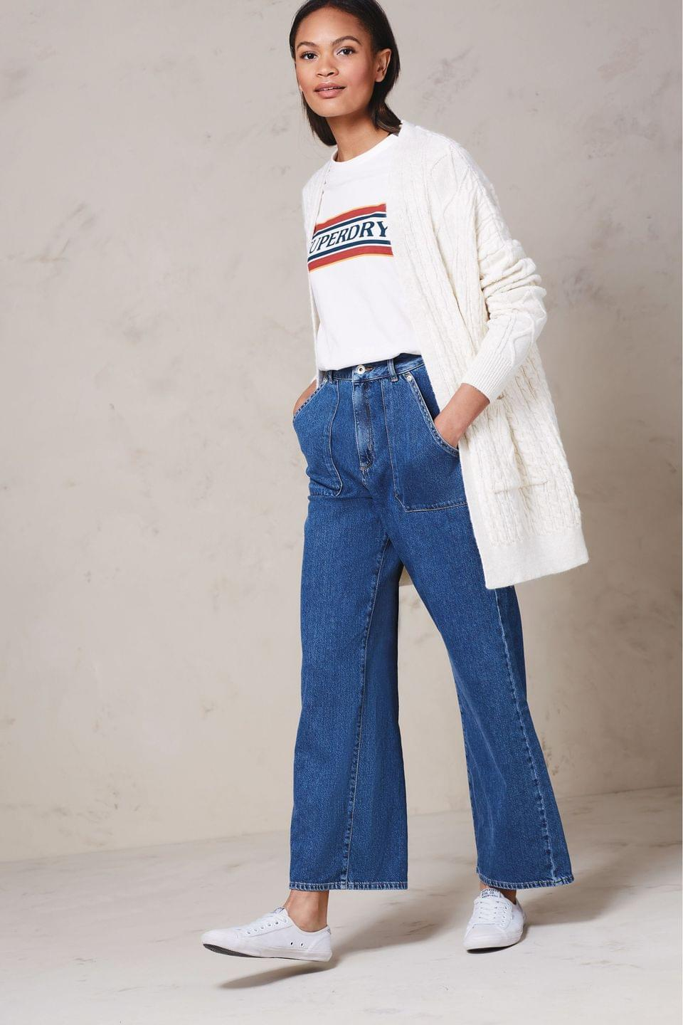 Women's Superdry Blue Wide Leg Jeans