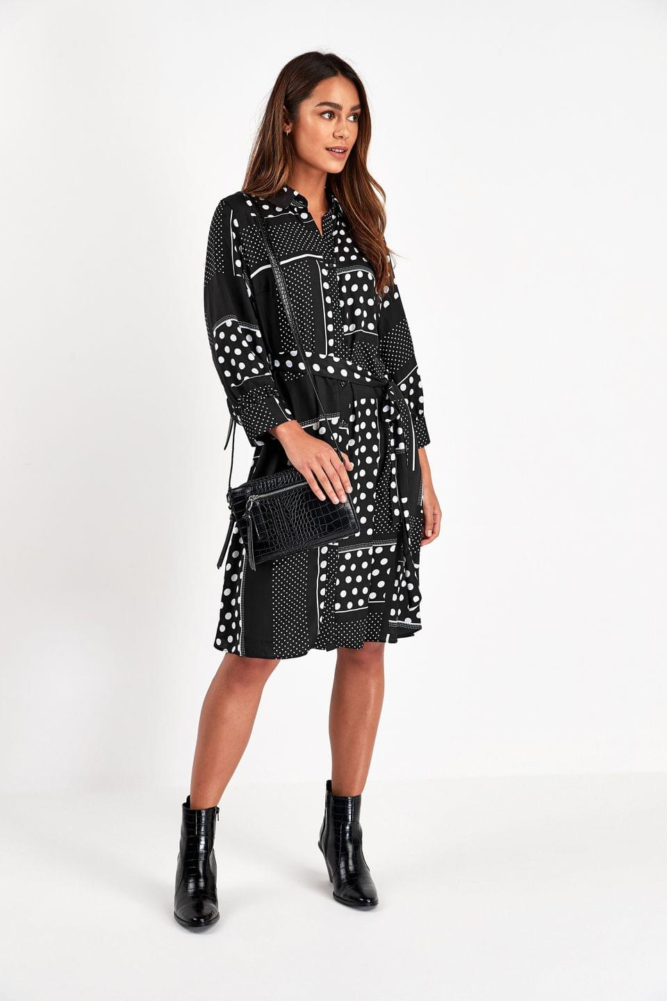 Women's Black/White Shirt Dress
