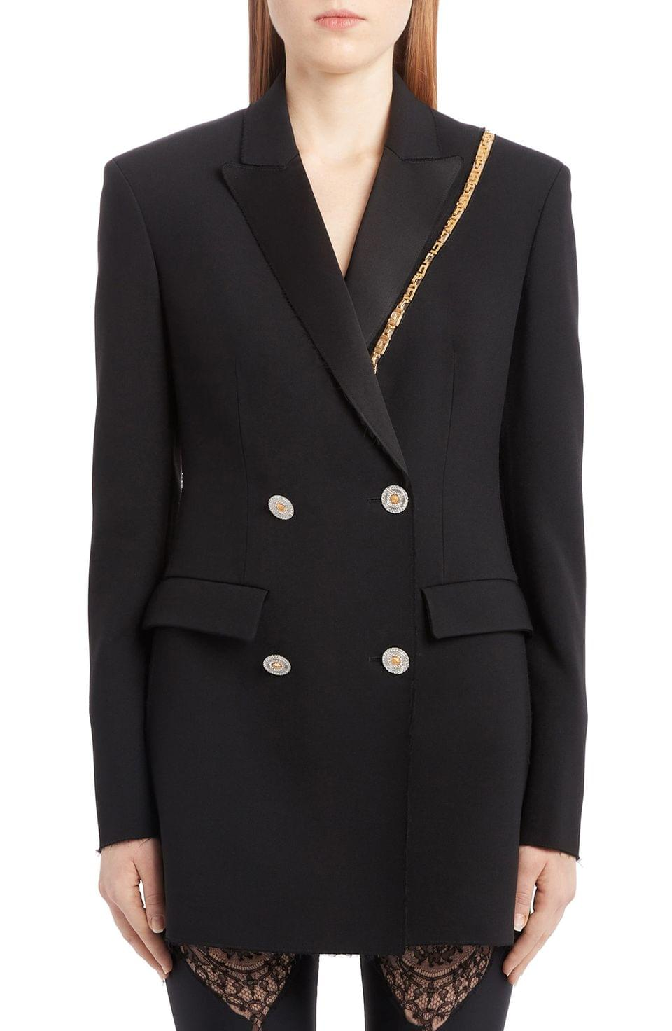 Women's Versace Chain Trim Double Breasted Crepe Cady Blazer