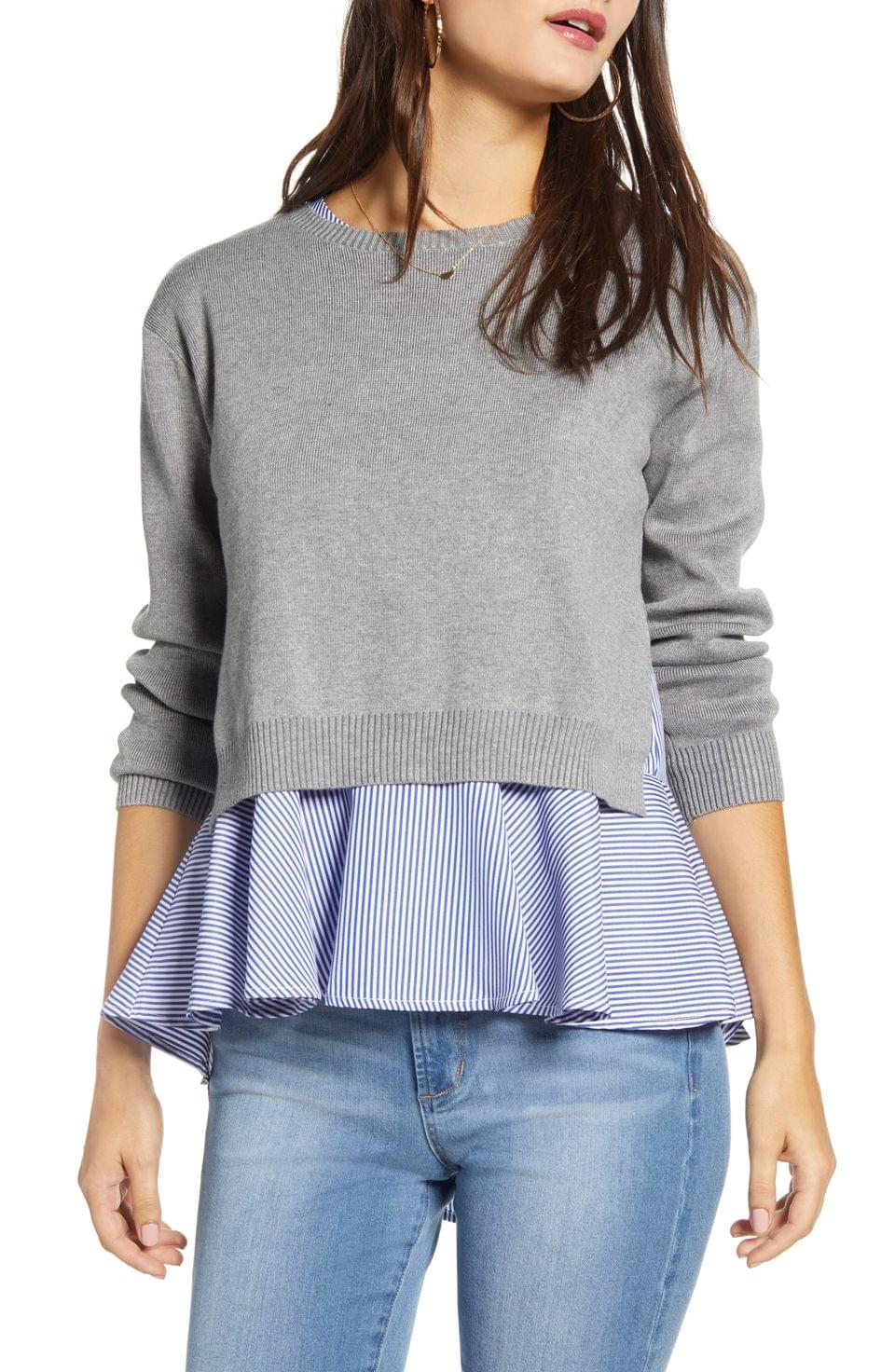 Women's English Factory Layered Back Slit Stripe Top & Sweater