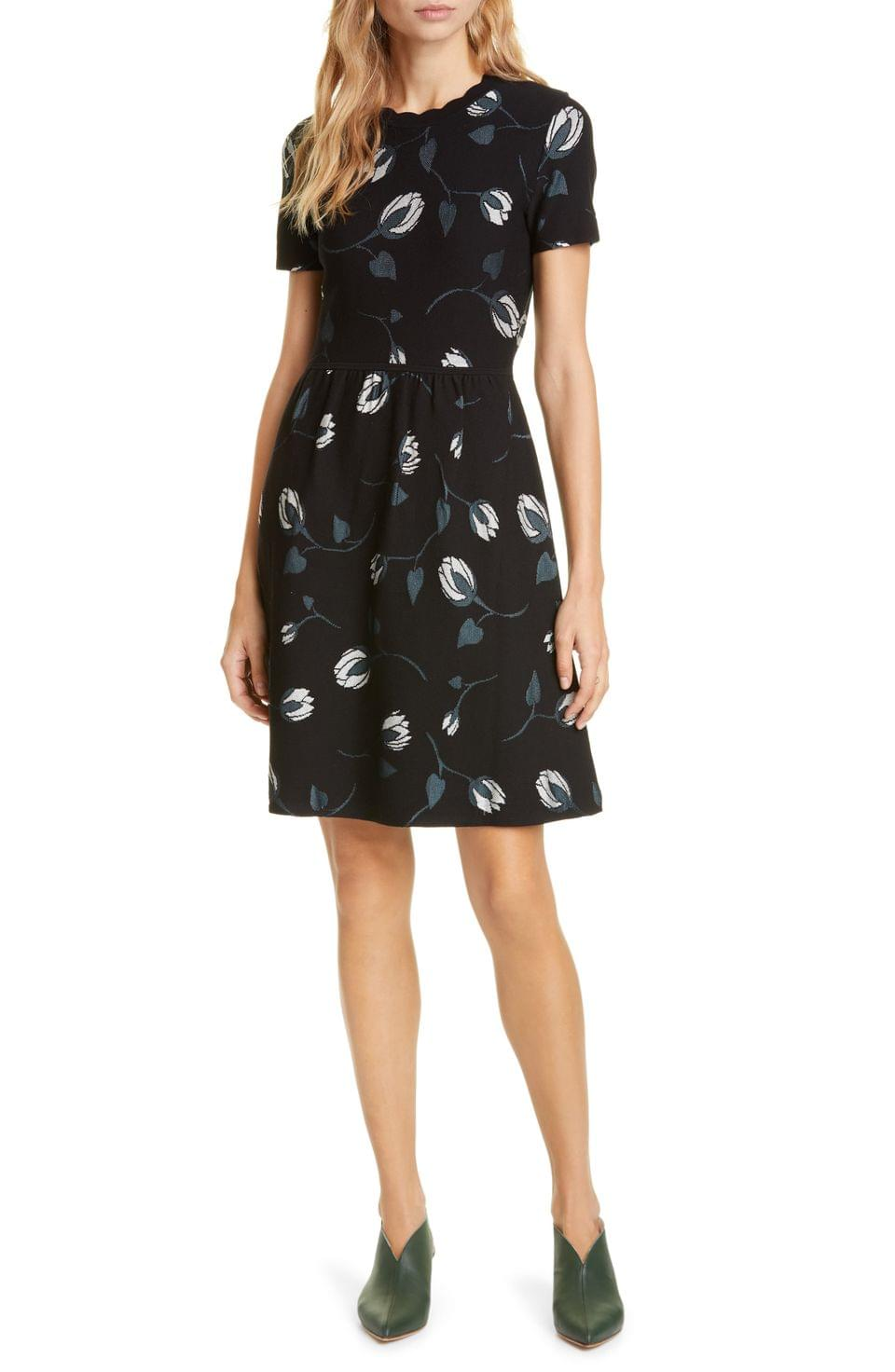 Women's kate spade new york deco bloom scallop fit & flare dress