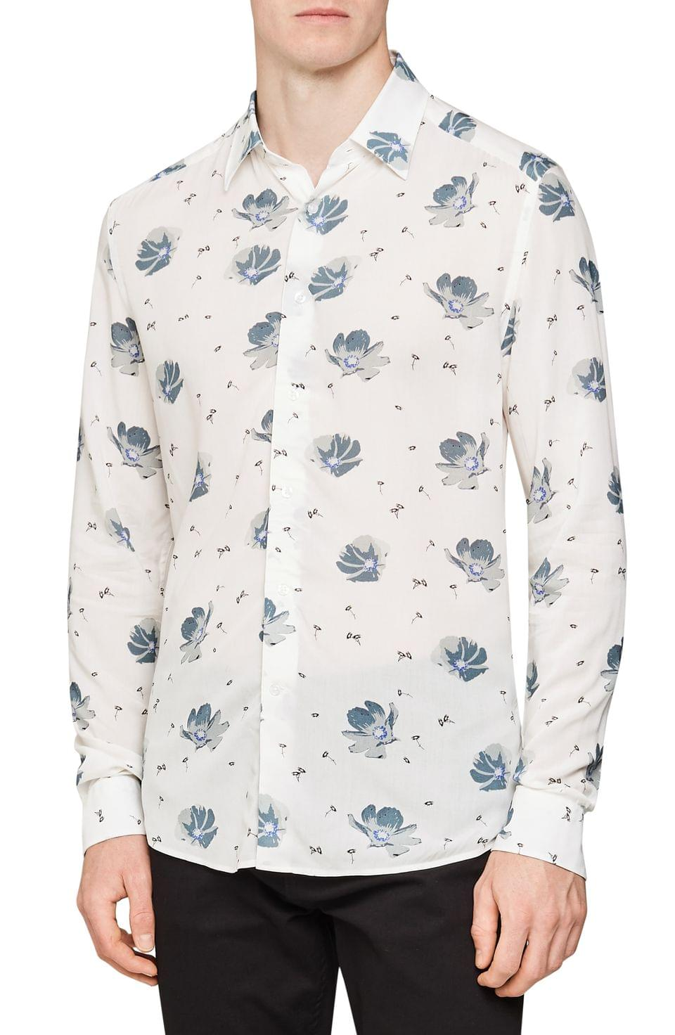 Men's Reiss Phoenix Slim Fit Floral Print Button-Up Shirt